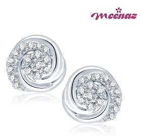 Meenaz Enchanting Designer Rhodium plated CZ Earings T104