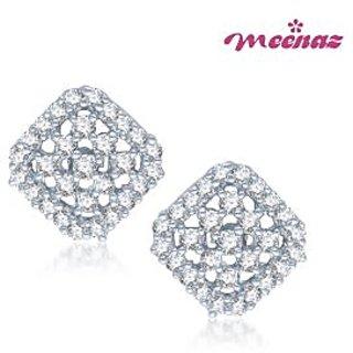 Meenaz Glamstar Beauty Rhodium Plated CZ Earings T108