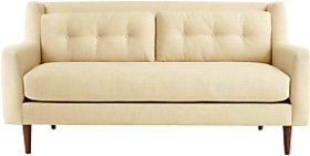 Midcentury Modern Sofa With Exposed Angled Arms in Tan - Afydecor