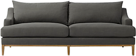 Afydecor Transitional Down Filled Sofa with Sloped Arms in Graphite