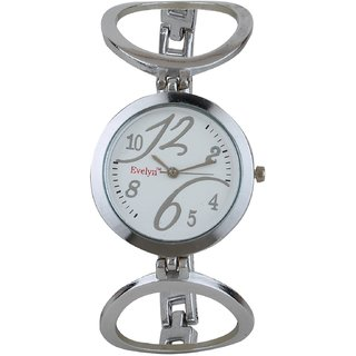 Evelyn White Dial Steel Watch with Steel Chain for WoMen - ST-080