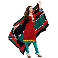 Drapes Turquoise And Red Cotton Printed Salwar Suit Dress Material