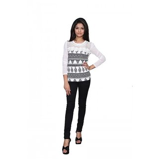 Trendz Today Printed Lycra Net Top In White  Black Color