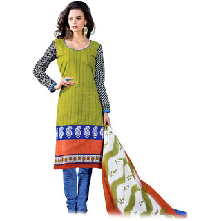 Drapes Green And Blue Cotton Printed Salwar Suit Dress Material  Unstitched