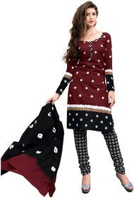 Drapes Womens Brown Cotton Printed Dress material (unstitiched) DF0686 (Unstitched)