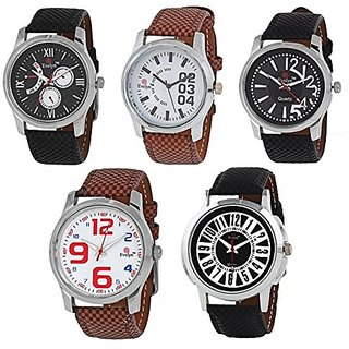Evelyn Round Dial Multicolor Leather Strap Quartz Watch For Men (Combo)