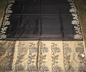 ELAN Black Handloom Self Design Saree With Blouse