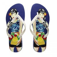 Stylar Beach Party Flip Flops (Blue And White)
