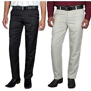 Routeen Men's Black & Beige Slim Fit Formal Trousers (Combo)