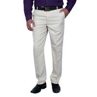 Routeen Men's Beige Slim Fit Wall Street Formal Trouser