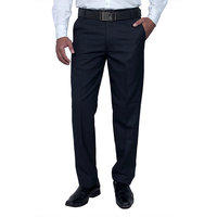 Routeen Men's Blue Regular Fit Formal Trousers