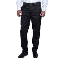 Routeen Men's Black Slim Fit Wall Street Formal Pants