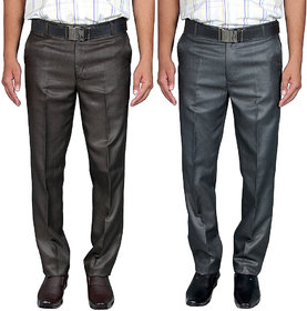 Routeen Men's Brown & Black Skinny Fit Formal Trousers (Pack of 2)