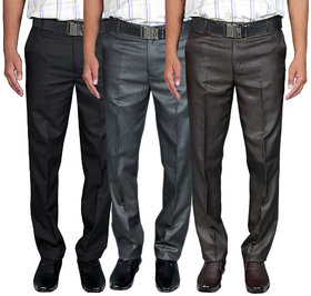 Routeen Men's Multicolor Skinny Fit Formal Trousers (Pack of 3)