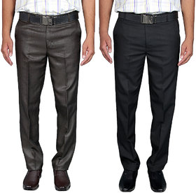 Routeen Men's Regular Fit Formal Pants - Coffee, Black (Combo Pack of 2)
