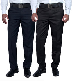 Routeen Men's Blue & Black Slim Fit Formal Trousers (Pack of 2)