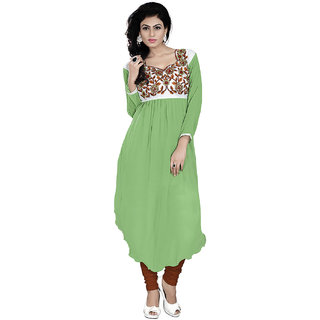 Lookslady Embroidered Light Green Georgette Kurti