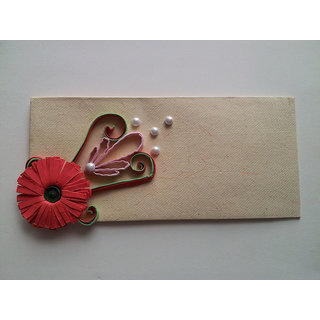 Paper Quilling Handmade Envelop With Red Flower
