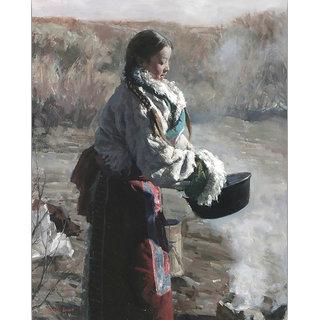 Vitalwalls Portrait Painting  Premium  Canvas Art Print Oriental-170-60