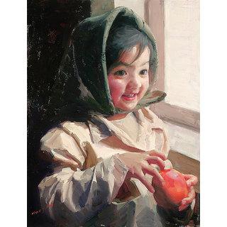 Vitalwalls - Portrait Painting -Premium Canvas Art Print.Oriental-129-45