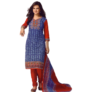 Kaya Printed  RoyalBlueOrangeRed Colour Pure Cotton Casual Unstitched Dress Material