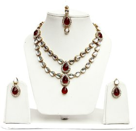 Lucky Jewellery 2-Line Maroon  Kundan  Set  With Mang Tika