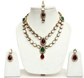 Lucky Jewellery 2-Line Maroon Green Kundan  Set  With Mang Tika