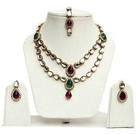 Lucky Jewellery 2-Line Purple Green Kundan  Set  With Mang Tika