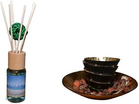 Diffuser Set Ocean with sticks  Decorative Ball, Natural Fragrances