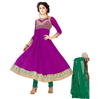 Surat Tex Purple Color Embroidered Pure Georgette Semi-Stitched Anarkali suit