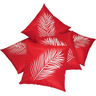Big Leaf Embroidery Red Cushion covers Set Of 5 (40X40 cms)