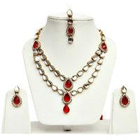 Lucky Jewellery 2-Line Red Kundan  Set  With Mang Tika