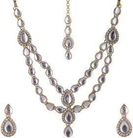 Lucky Jewellery 2-Line White Kundan  Set  With Mang Tika