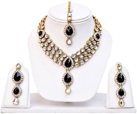 Lucky Jewellery 3-Line Black Kundan  Set  With Mang Tika