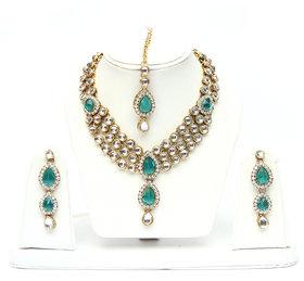 Lucky Jewellery 3-Line Ferozi Kundan  Set  With Mang Tika
