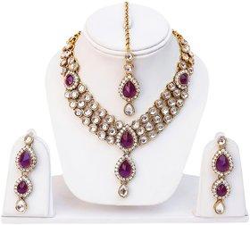 Lucky Jewellery 3-Line Purple Kundan  Set  With Mang Tika