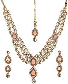 Lucky Jewellery 3-Line Peach Kundan  Set  With Mang Tika