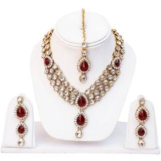 Lucky Jewellery 3-Line Maroon Kundan  Set  With Mang Tika