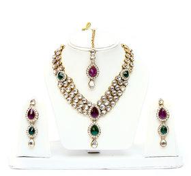 Lucky Jewellery 3-Line Purple Green Kundan  Set  With Mang Tika