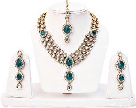 Lucky Jewellery 3-Line Rama Green Kundan  Set  With Mang Tika
