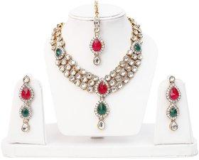 Lucky Jewellery 3-Line Magenta Green Kundan  Set  With Mang Tika