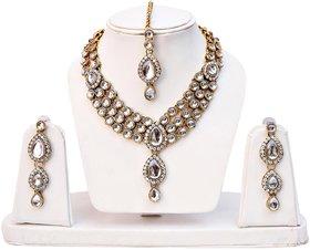 Lucky Jewellery 3-Line White Kundan  Set  With Mang Tika