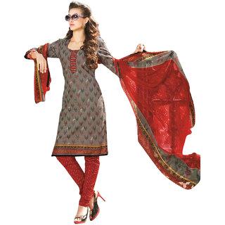 Drapes Blue Dupion Silk Lace Salwar Suit Dress Material (Unstitched)