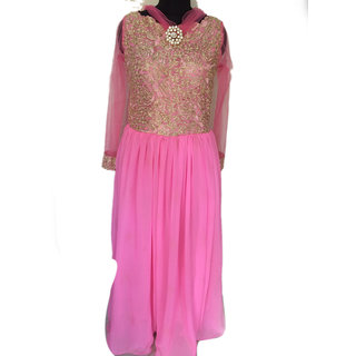 Just Out Of The Cocoon Western Wear Georgette Silk Baby Pink Gown