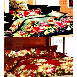 Angel homes Super Soft 3D 2 Double Bedsheets Combo With 4 Pillow Covers