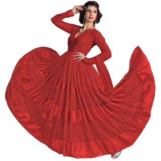 Surat Tex Red Color Embroidered Net  Brasso Semi-Stitched Anarkali suit