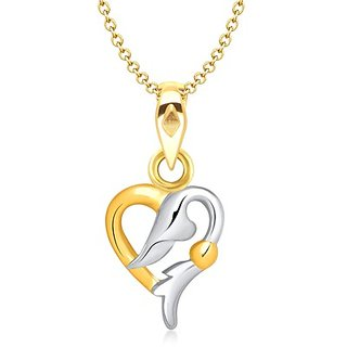 Vina Love Musings Heart Shape Gold And Rhodium Plated Pendant