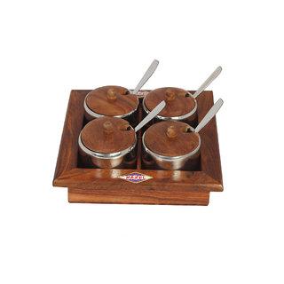 Hazel Mukhwas Square Wooden, Pickle set, 19 cm,13piece set,Brown & silver