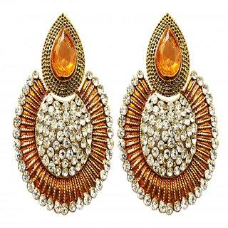 Dhwani Creation ER1110O Orange Alloy Drop Earrings