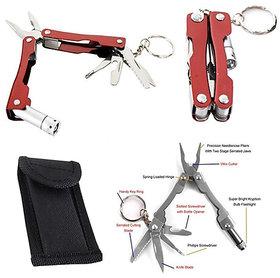 1x Micro Pliers Toolkit LED Light Key Chain Knife Tool Kit